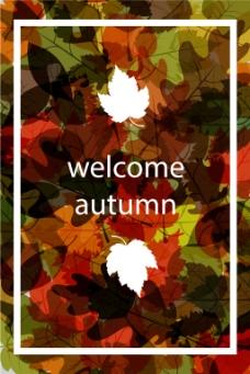 秋色树叶海报背景