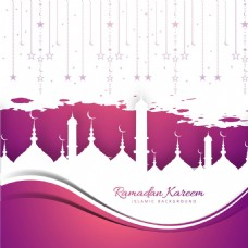 开斋节紫色白色伊斯兰装饰背景