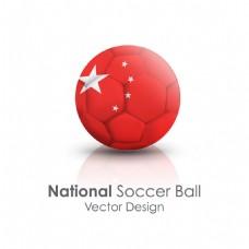 中国国旗足球贴图矢量素材