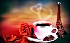 浪漫玫瑰心形背景