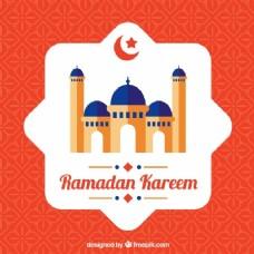 斋月背景:卡里姆与清真寺的平面设计