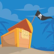 海盗旗沙滩背景与装满金币的箱子