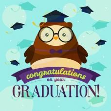 猫头鹰插图毕业背景