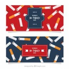 世界无烟日旗帜红色和蓝色背景