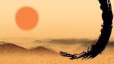 手绘沙画大漠背景