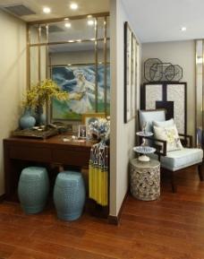 时尚卧室桌子背景墙设计图