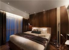 现代卧室大床落地窗设计图