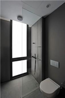 现代简约卫生间马桶落地窗设计图