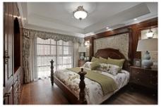 时尚卧室大床落地窗设计图