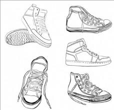 手绘线稿运动鞋插图集