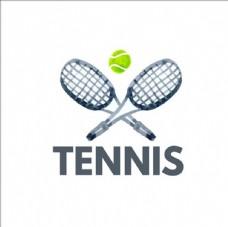 水彩网球比赛培训俱乐部标志