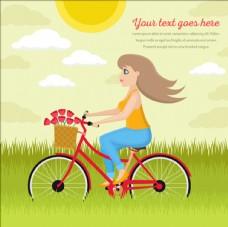 卡通騎自行車的少女