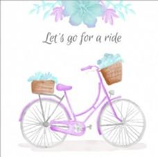 水彩自行车海报