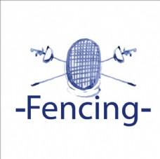 水彩击剑比赛培训俱乐部标志
