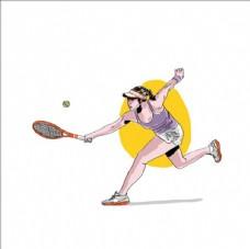 手绘水彩网球女运动员