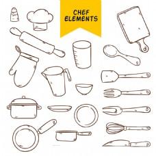 手绘厨房用具元素图标