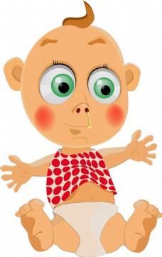 流鼻涕的婴儿图片