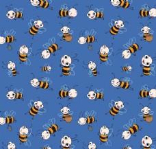 蓝色背景上飞舞的小蜜蜂卡通墙纸