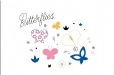 淡彩花与蝶