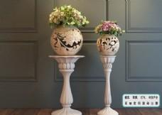 植物墙 装饰卷花 镂空花瓶模型