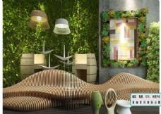 多肉植物 藤类休闲椅 装饰画