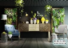 休闲椅 多肉绿植 墙摆件 花艺