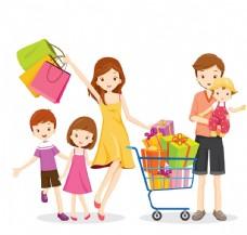 购物的家庭卡通人物矢量
