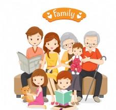 相亲相爱的家庭卡通人物矢量