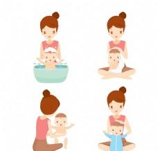 四款给宝宝洗澡穿衣的妈妈