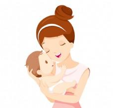 抱着宝宝的妈妈客厅人物矢量