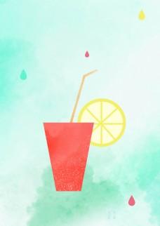果汁杯子海报背景素材