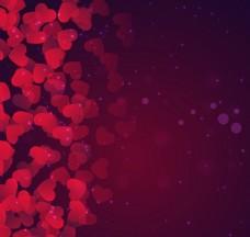 唯美渐变红色心形背景矢量