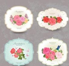 四款唯美花朵标签素材矢量