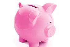 粉红色小猪存钱罐矢量