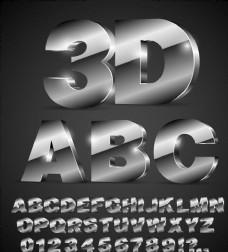 40个银色3D字母和数字设计矢