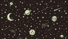 黑色宇宙星空卡通矢量