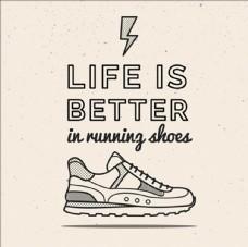 手绘线稿运动鞋插图