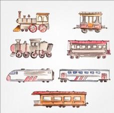 手绘水彩高铁列车蒸气火车