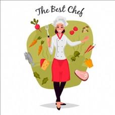 卡通女廚師插圖