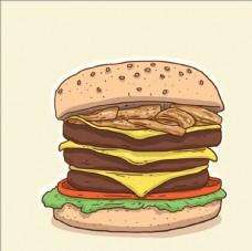 手绘经典美味的汉堡