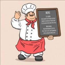 手繪微笑舉著菜單的胖廚師