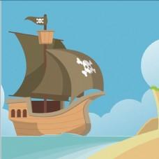 卡通海盗船插图