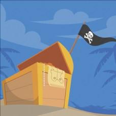 卡通海盗旗帜和宝箱