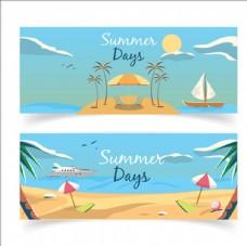 卡通夏季沙滩横幅广告
