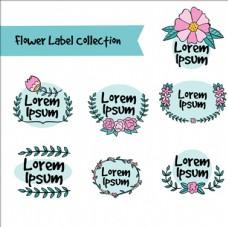 手绘花卉婚礼标签