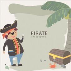 卡通海盗棕榈树宝箱插图