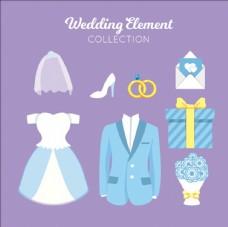 色彩柔和的婚礼元素