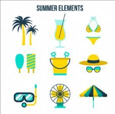 平面夏季海滨设计元素