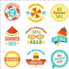 卡通夏季促销打折贴纸标签