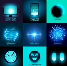 多款电子发光焰火光效矢量素材